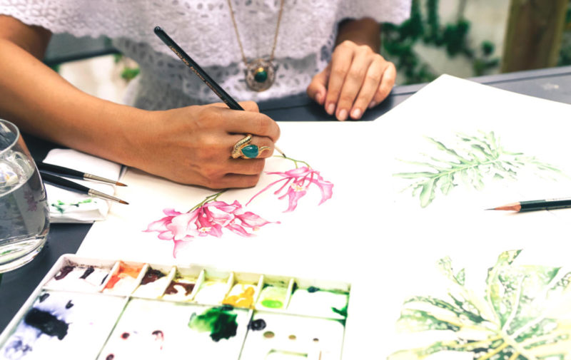 Lucinda Law, botanical artist and founder of Within.sg with her beautiful watercolor art.